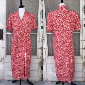 Vintage Red and White Floral Faux Wrap Dress M